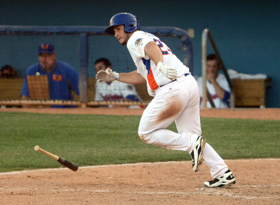 Rockhounds' David Freitas heads for first base after putting the ball in play against the Tulsa Drillers Thursday at Citibank Ballpark. James Durbin/Reporter-Telegram Photo: JAMES DURBIN