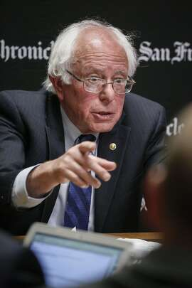 Democratic presidential candidate Sen. Bernie Sanders speaks the San Francisco Chronicle editorial board on Tuesday, May 10, 2016 in San Francisco, Calif.