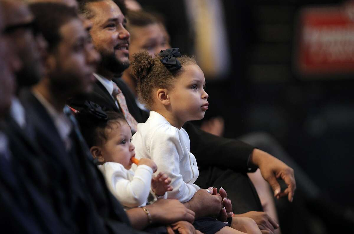Riley Curry with her little sister Ryan, in the audience at MVP ceremonies in May 2016