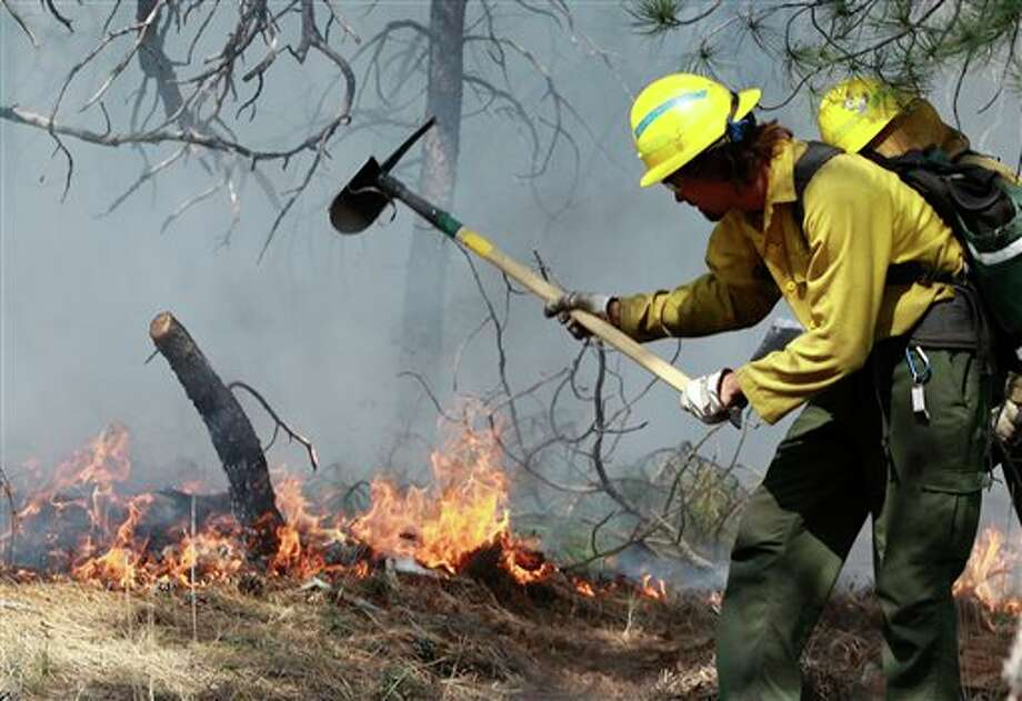 An AmeriCorps volunteer firefighter assigned to the El Paso County Sheriff's Office, Woodland Fire Crew, helps contain a spot fire in an evacuated area of forest, ranches and residences, in the Black Forest wildfire area, north of Colorado Springs, Colo., on Thursday, June 13, 2013. The blaze in the Black Forest is now the most destructive in Colorado history, surpassing last year's Waldo Canyon fire, which burned 347 homes, killed two people and led to $353 million in insurance claims. (AP Photo/Brennan Linsley) Photo: Brennan Linsley / AP