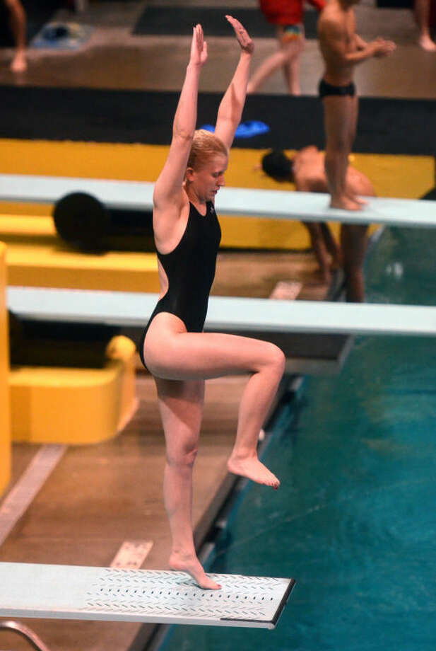 Haley Allen competes in a regional diving competition at Mabee Aquatic Center Friday. James Durbin/Reporter-Telegram Photo: JAMES DURBIN