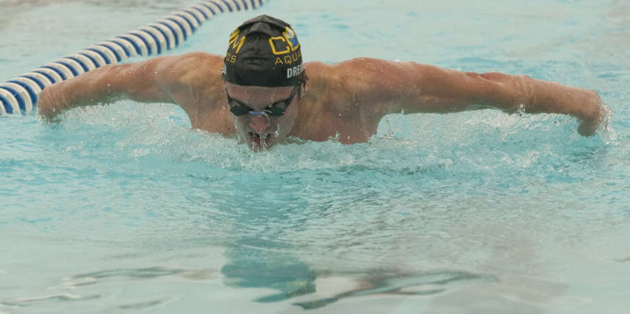 COM's Kyle Marshall swims Friday in the boys 13 and over 200 m butterfly at the Western National Bank Invitational at Doug Russell Pool. Tim Fischer\Reporter-Telegram Photo: Tim Fischer