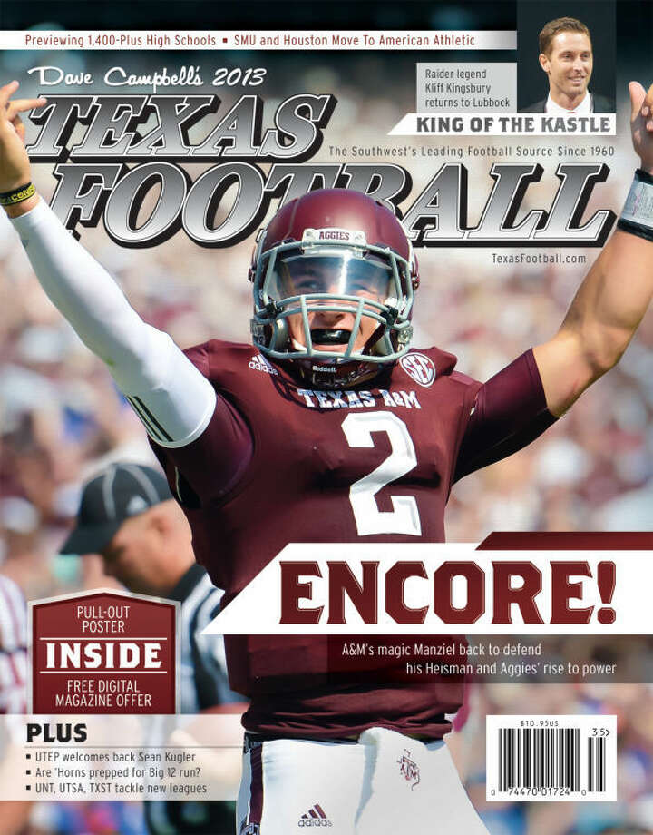 Texas A&M quarterback Johnny Manziel on the cover for this year's Texas Football. The maganzine hits the newsstands on Friday.