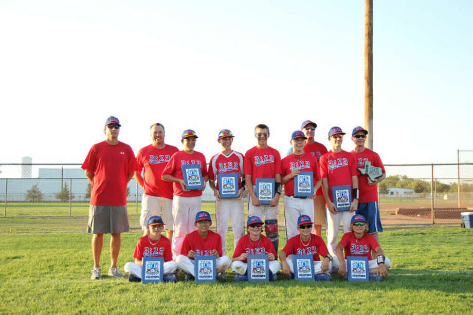 The 3:23 12U AAA baseball team won the USSSA West Texas State tournament in Amarillo on June 9. 3:23 defeated the Andrews Stix 8-0 in the championship game. Top row from left to right, coach Chris Jauz, coach Bobby Robertson, Daniel Gower, John Marshall, Hunter Robertson, Carter, Eckles, coach Eric Griffin, Gunnar Griffin, coach Mickey Eckles; seated from left to right, Gunner Conklin, Eli Salazar, Bryce Lewis, Josh Nail, Cooper Jauz