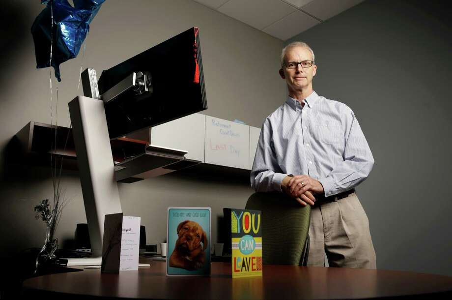David McQuinn poses for a photo in his office at MiTek, a construction and engineering firm, Tuesday, May 10, 2016, in Chesterfield, Mo. McQuinn, 61, is retiring Tuesday after 30 years with the suburban St. Louis company, a length of time with one employer that is unlikely to be achieved by many younger workers. (AP Photo/Jeff Roberson) Photo: Jeff Roberson, STF / Copyright 2016 The Associated Press. All rights reserved. This material may not be published, broadcast, rewritten or redistribu
