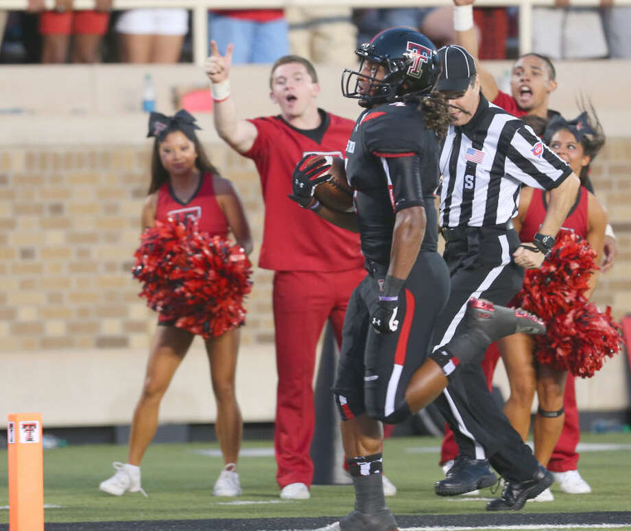 Former Odessa Broncho, and current Texas Tech wide receiver Bradley Marquez crosses the goal line for a first half touchdown in Saturdays game with Stephen F Austin University. Photo: Wade H Clay