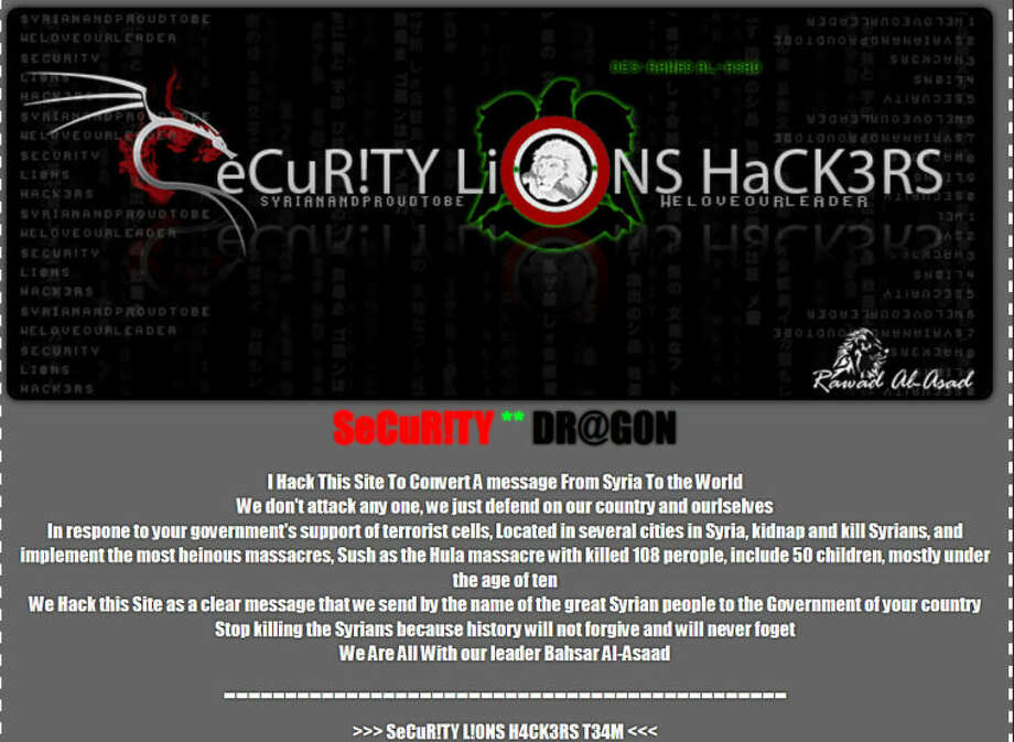 Members of the Syrian Electronic Army hacked the Reporter-Telegram's message board, MyOpenForum.com Monday afternoon. The hack took users to a pro-Syria propaganda website run by a group calling themselves SeCuR!TY Li0NS HaCK3RS. Photo: Screenshot Of MyOpenForum.com