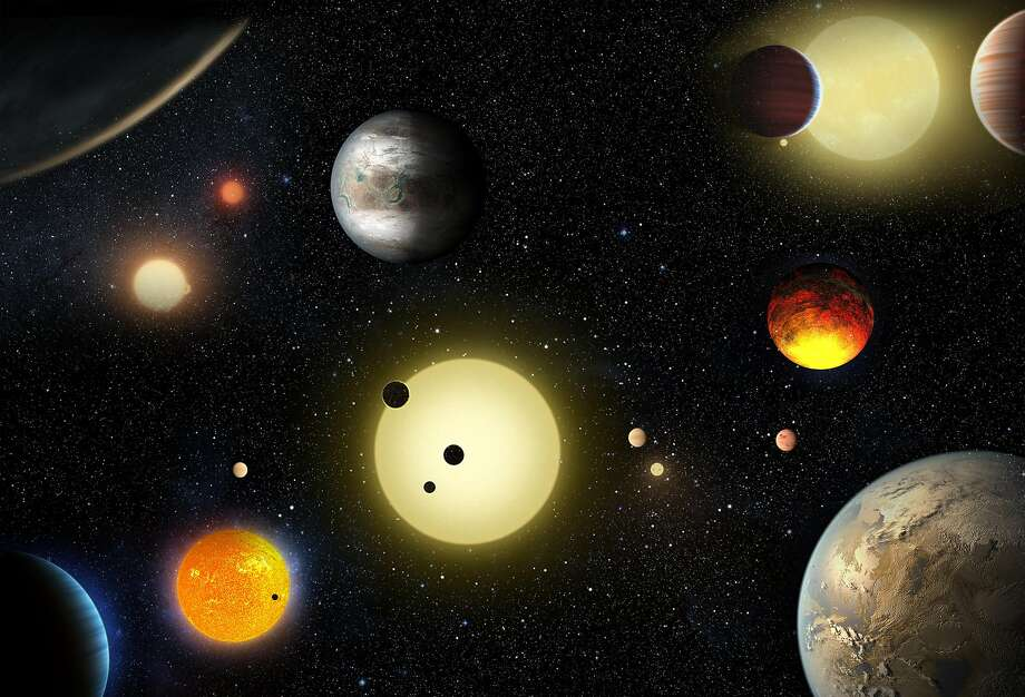 FILE-- This artist's concept depicts select planetary discoveries made to date by NASA's Kepler space telescope. As of October 2018, the planet-hunting spacecraft has been in space for nearly a decade.  Photo: NASA/W. Stenzel
