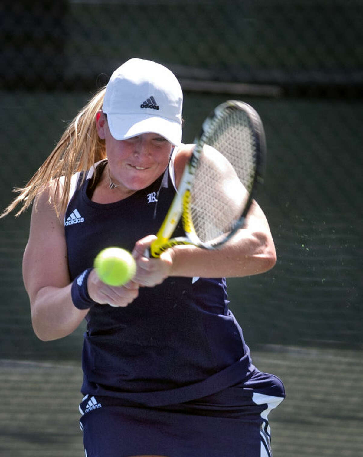 Natalie Beazant of Rice, defending champ and #2 seed, hits during the Racquet Club Collegiate Invitational on Saturday at the Club. James Durbin/Reporter-Telegram
