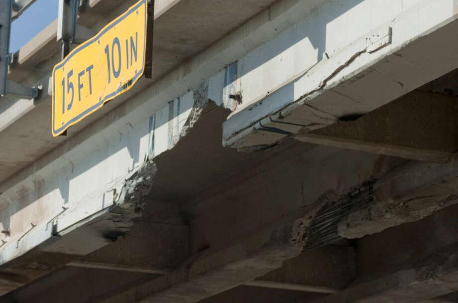 The CR 1150 bridge over I-20 was recently damaged by an oversize load. Tim Fischer\Reporter-Telegram Photo: Tim Fischer