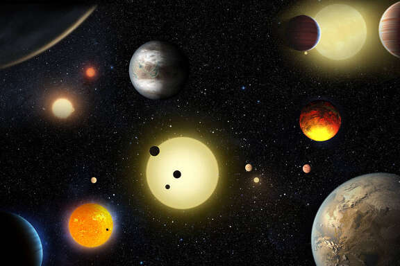 An artist's concept depicts select planetary discoveries made to date by NASA's Kepler Space Telescope. Using a statistical method, scientists can confirm planets more quickly and effectively.