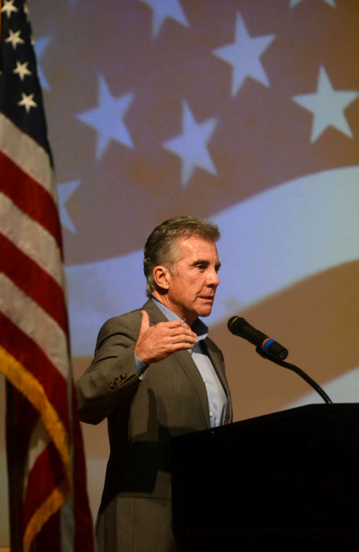 """John Walsh of """"America's Most Wanted"""" speaks during the 200 Club Law Enforcement Appreciation Banquet on Tuesday at the Midland Center. James Durbin/Reporter-Telegram"""