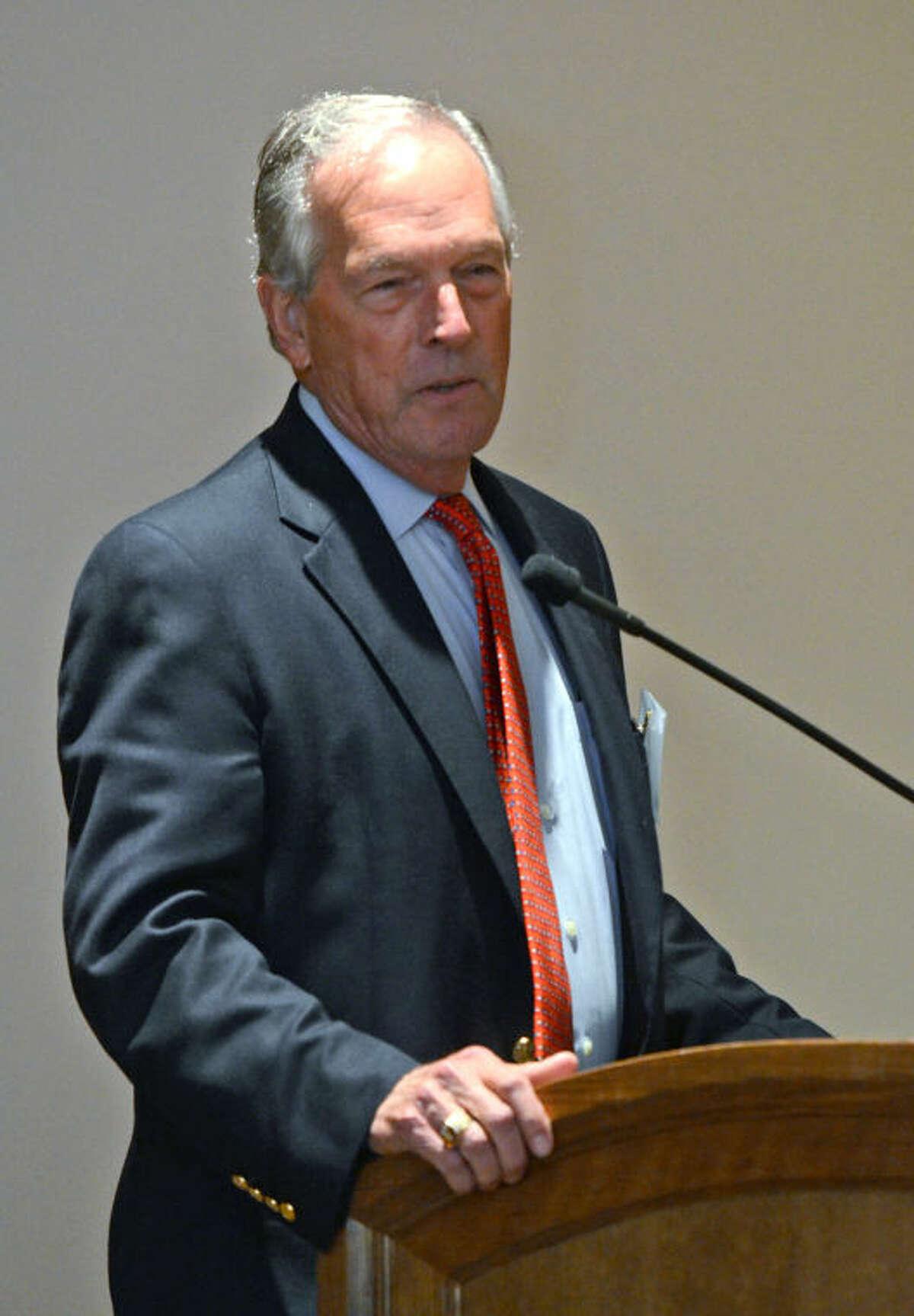 Don Evans, former secretary of commerce under Pres. George W. Bush, speaks during the Permian Basin Petroleum Association's monthly membership luncheon Thursday at the Petroleum Club. James Durbin/Reporter-Telegram