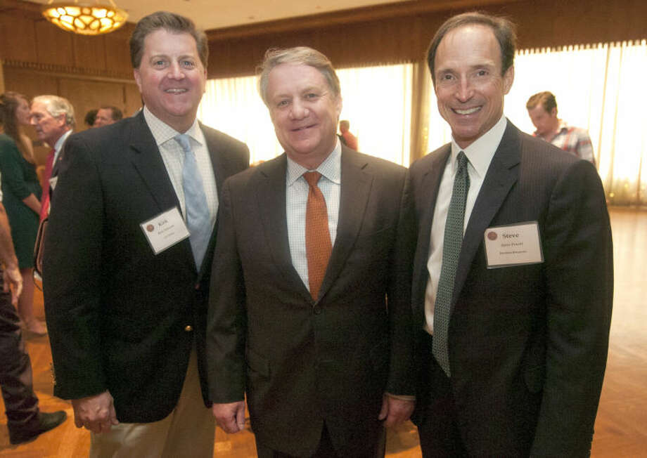 From left, Kirk Edwards, past chairman of the PBPA, Ben Shepperd, president of the PBPA, and Steve Pruett, chairman of PBPA, pose for a picture during the Permian Basin Petroleum Association's monthly membership luncheon Thursday at the Petroleum Club. James Durbin/Reporter-Telegram Photo: JAMES DURBIN