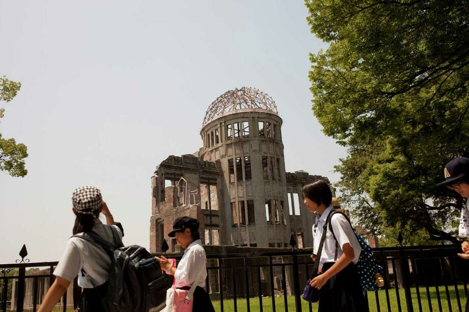 The exhibition center in Hiroshima, Japan, was one of the few buildings to survive the atomic bomb dropped here in 1945. Obama plans to visit a memorial but not to bring a U.S. apology.   Photo: KO SASAKI, STR / NYTNS