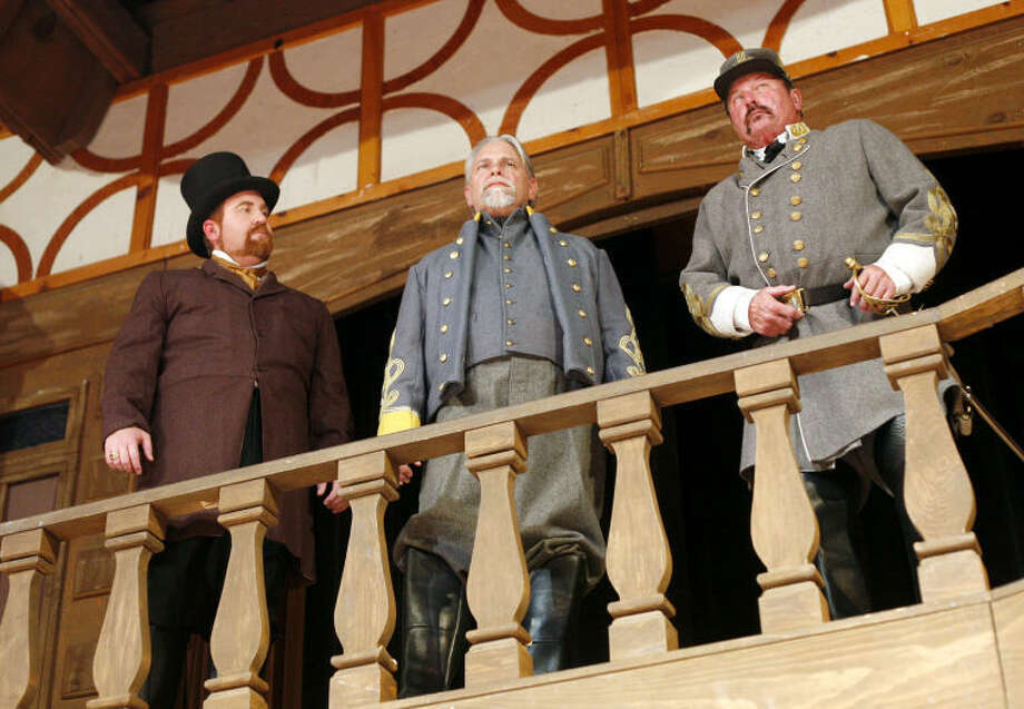 Cyrus (James Lewallen), Thomas Collins (George Melonakos) and the General (Robert Hollmann) talk and look out from the hill during a scene from The Last Ball. Photo: Edyta Blaszczyk | Odessa American