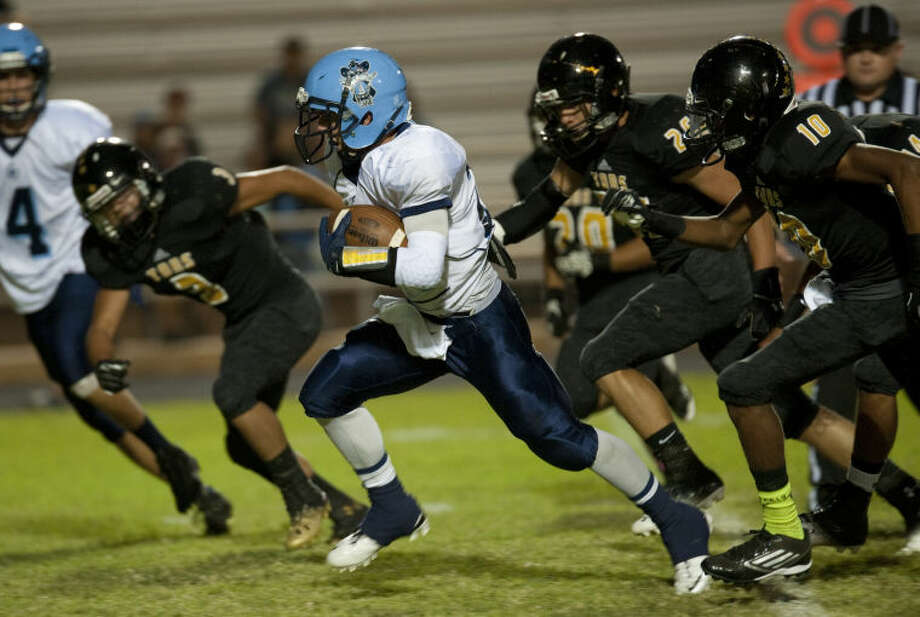 Greenwood's Braydin Moreland gets through the Lamesa line for some extra yards Friday night in Lamesa. Tim Fischer\Reporter-Telegram Photo: Tim Fischer