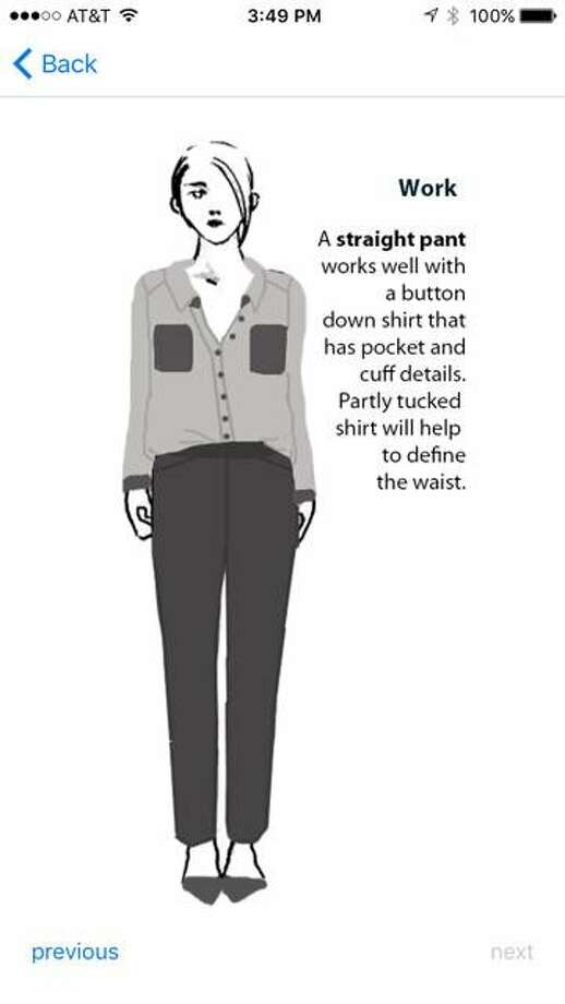 Entrepreneur Camilla Olson's latest venture leads app users through an initial quiz matching them with one of the nine basic female body shapes (sketched by Jungah Lee) established in published scientific research. From there, users are able to explore the ways work-appropriate wardrobe staples fit their designated body shape alongside style tips and suggestions for coordinating pieces. Photo: Savitude