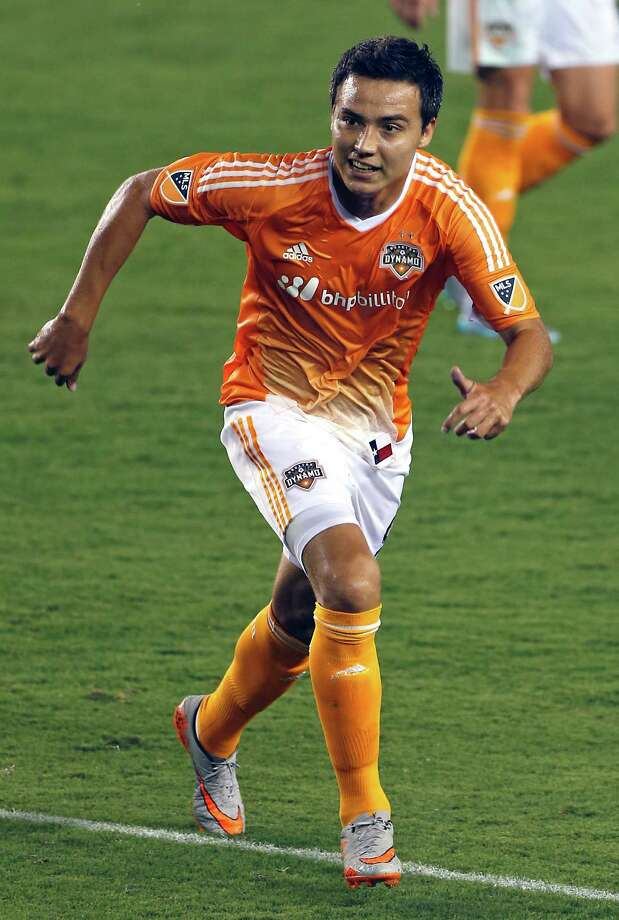 Houston Dynamo forward Erick Torres during the second half of MLS game action against the San Jose Earthquakes at BBVA Compass Stadium Saturday, Aug. 8, 2015, in Houston.