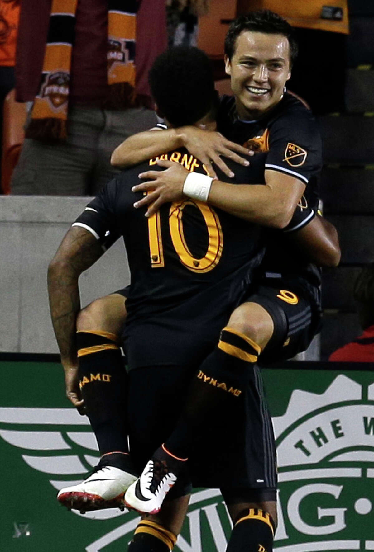 In his first stint in the MLS, Erick Torres, right, scored 22 goals in 44 appearances with Chivas USA in 2013 and '14 before signing with the Dynamo.