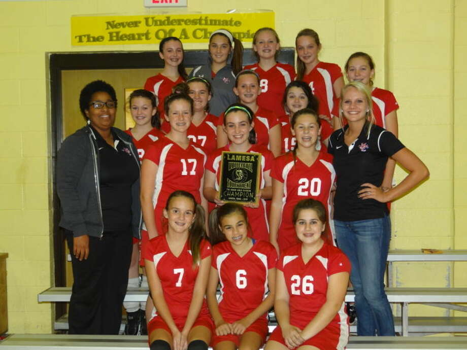 The Midland Christian 7th grade girls volleyball team won the Lamesa Tournament on Sept. 21. Top row from left to right, Annabel Copeland, McKenzie Fryar, Sydney Wilson, Makenzie Bledsoe; second row from left to right, Hailey McLeod, Brianna Kelso, Lauren Battershell, Aubreigh Havens; third row from left to right, coach Davis, Kate Fisher, Brooke Wilhite, Skylar Espinoza, coach Presley; front row from left to right, Lindsey Norris, Kindal Young, Brittany Hensley.