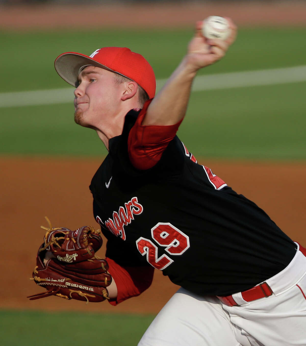 University of Houston Trey Cumbie pitches against Rice University during game in Reckling Park at Rice Tuesday, May 10, 2016, in Houston.