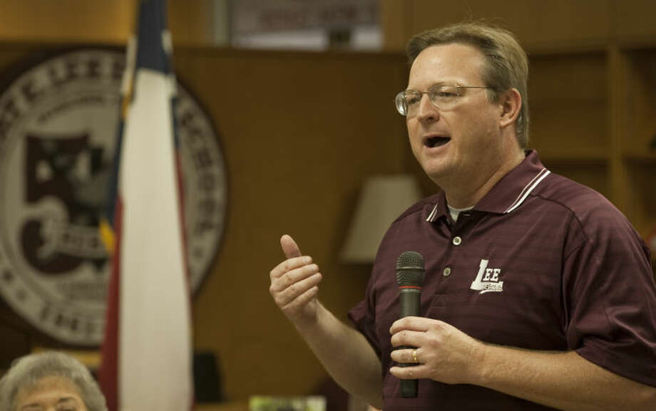 MISD Superintendent Ryder Warren talks about the Legacy program and the excellent role models they represent to current and future Lee students during the Lee Legacy Wall of Honor Saturday morning at LHS. Tim Fischer\Reporter-Telegram Photo: Tim Fischer
