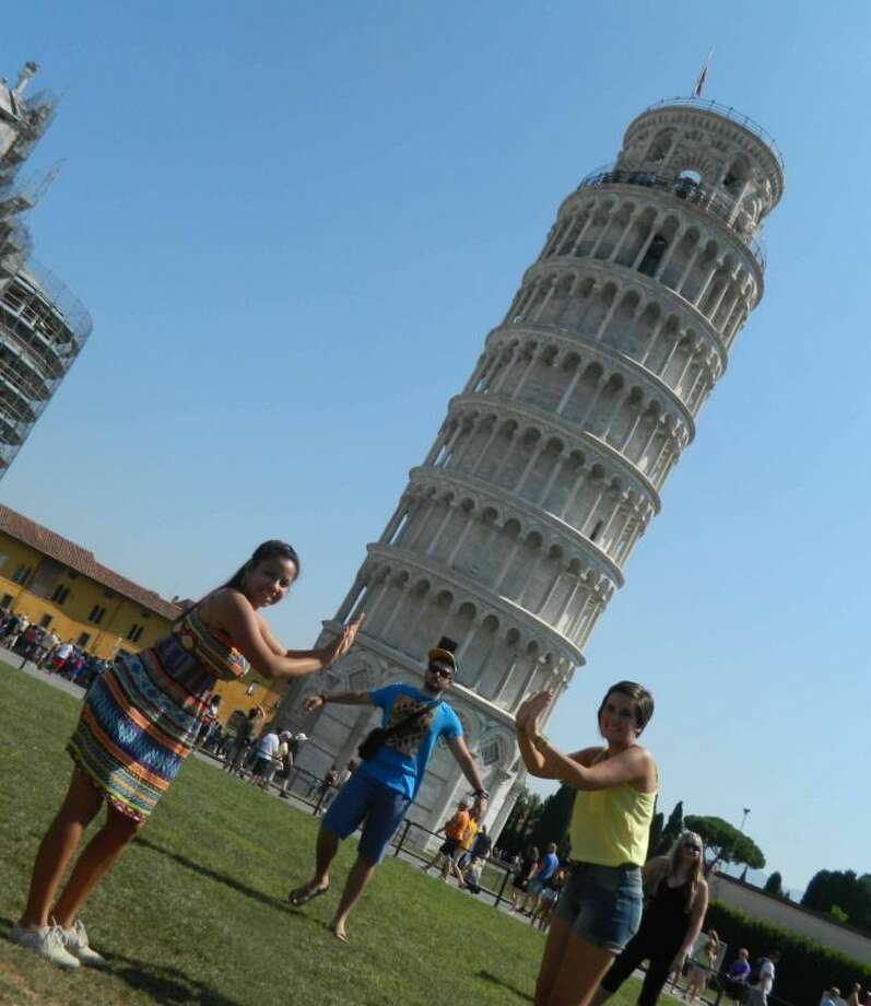 Daniela Corrales, left, visited the Leaning Tower of Pisa this summer during a Lions International Youth Exchange trip.