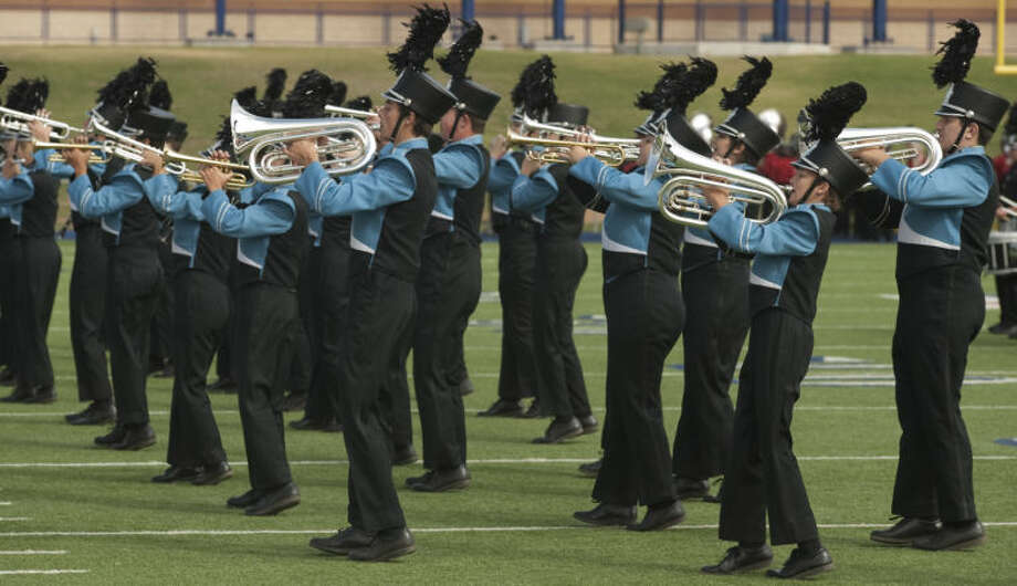 Members of the Greenwood Marching Band perform Saturday at the West Texas Tournament of Bands at Grande Communications Stadium. Tim Fischer\Reporter-Telegram Photo: Tim Fischer