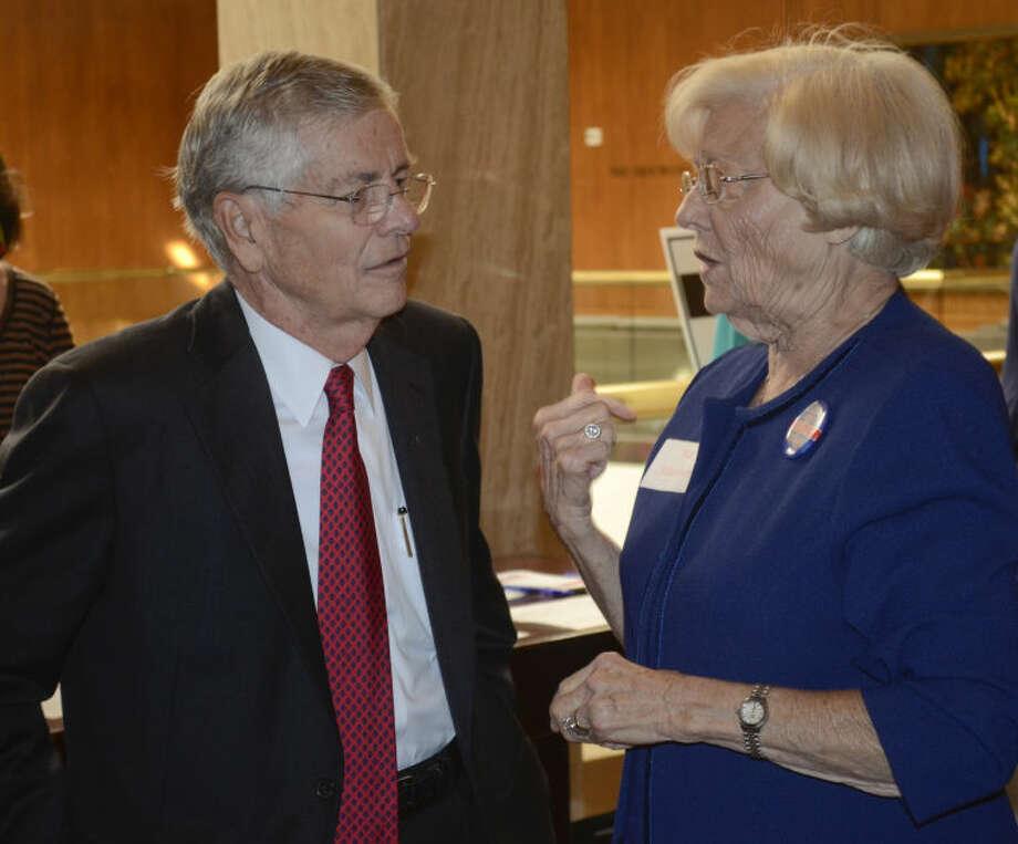 Texas Senator Tom Craddick talks with Pat Blackwell Wednesday afternoon before the Midland County Republican Women's luncheon. Tim Fischer\Reporter-Telegram Photo: Tim Fischer