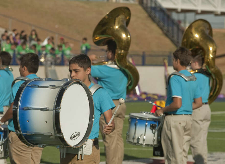 Members of Abell Junior High marching band perform Wednesday at the MISD Marching Festival in introduce and encourage sixth grade elementary students to join band next school year. Tim Fischer\Reporter-Telegram Photo: Tim Fischer