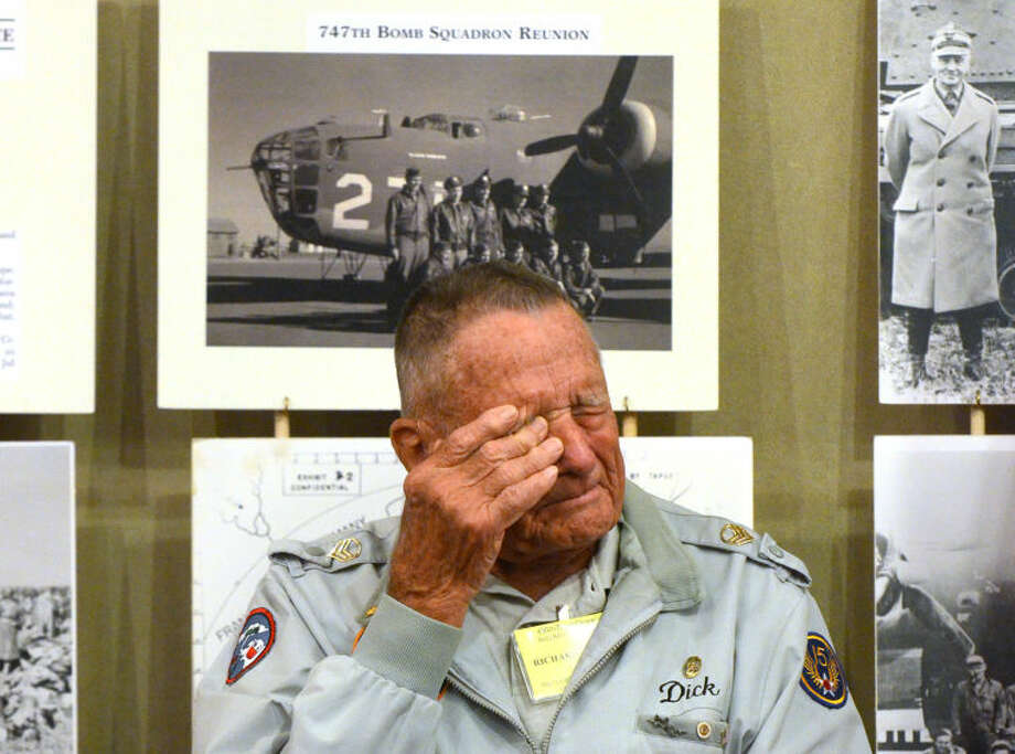 Richard Shields, gunner aboard a B-24 during World War II, pauses to collect his thoughts while speaking about friends who were killed in action at a press conference Thursday in the hospitality room of the Marriott Courtyard hotel. James Durbin/Reporter-Telegram Photo: JAMES DURBIN