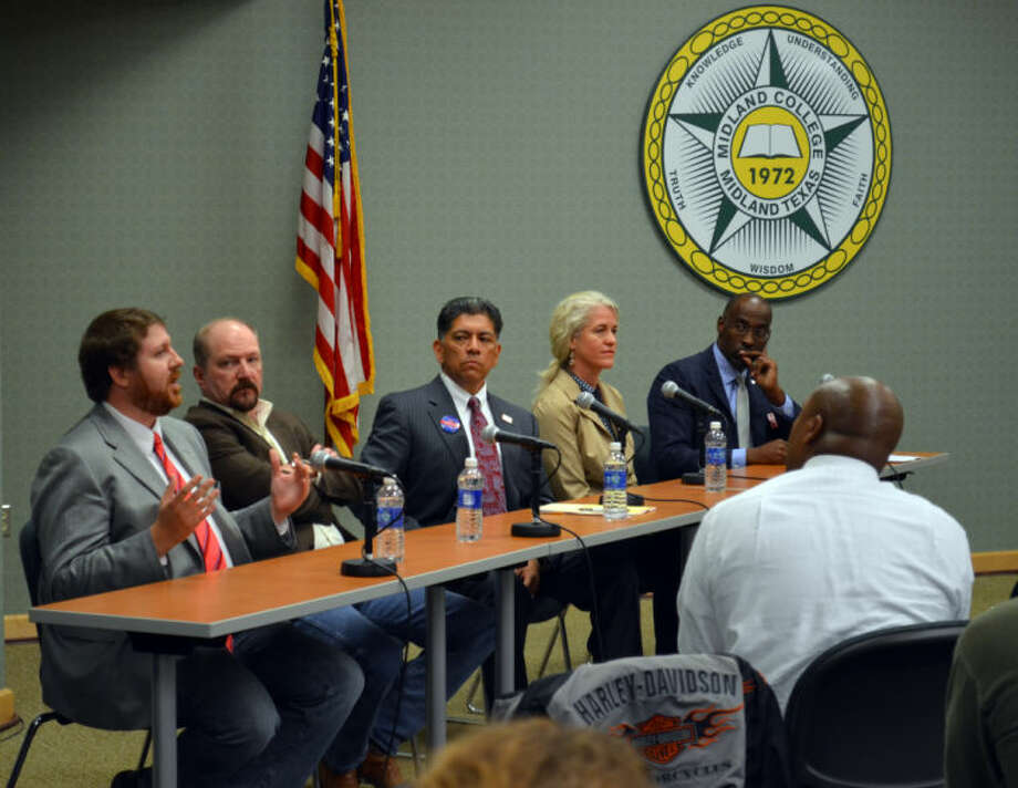 File Photo (Left) Mayoral Candidates Dan Anderson, Keith McLelland, Jerry Morales, Kathy White and John James. Photo: James Cannon/MRT