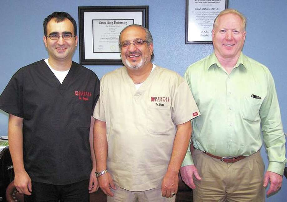 Dr. Ayman Dayeh (from left), Dr. S. M. Diais and Dr. Russell Toler of locally-owned Dental Solution can brighten or repair your smile. In Midland, call 432-697-4200 and in Odessa call 432-333-4500 to make an appointment.