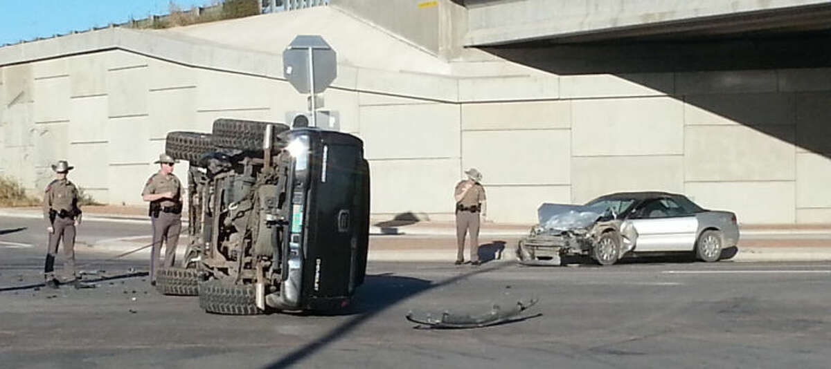 The driver of the pickup failed to yield the right of way at Interstate 20 and East Loop 250 andwas hit by the car. The driver of the car was transported to the hospital with minor injuries.