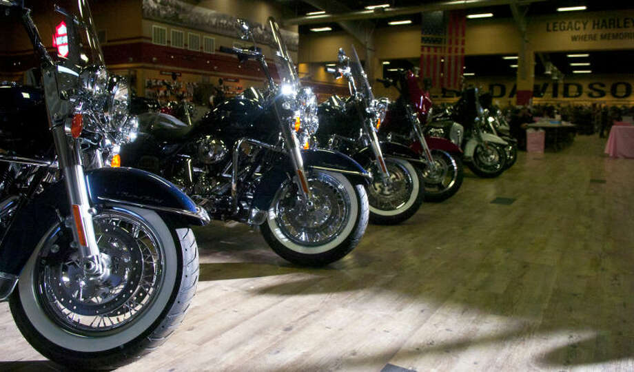 General view of the inside of Legacy Harley-Davidson Shop in Odessa during the Pink the Basin Motorcycle Rally on Sunday. James Durbin/Reporter-Telegram Photo: JAMES DURBIN