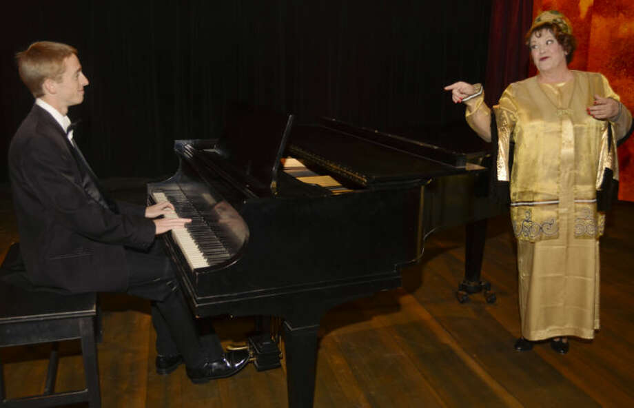 Jared Griffith as Cosme McMoon plays piano as Liz Koeninger as Florence Foster-Jenkins talks to him in MCT's production of Souvenir. Tim Fischer\Reporter-Telegram Photo: Tim Fischer