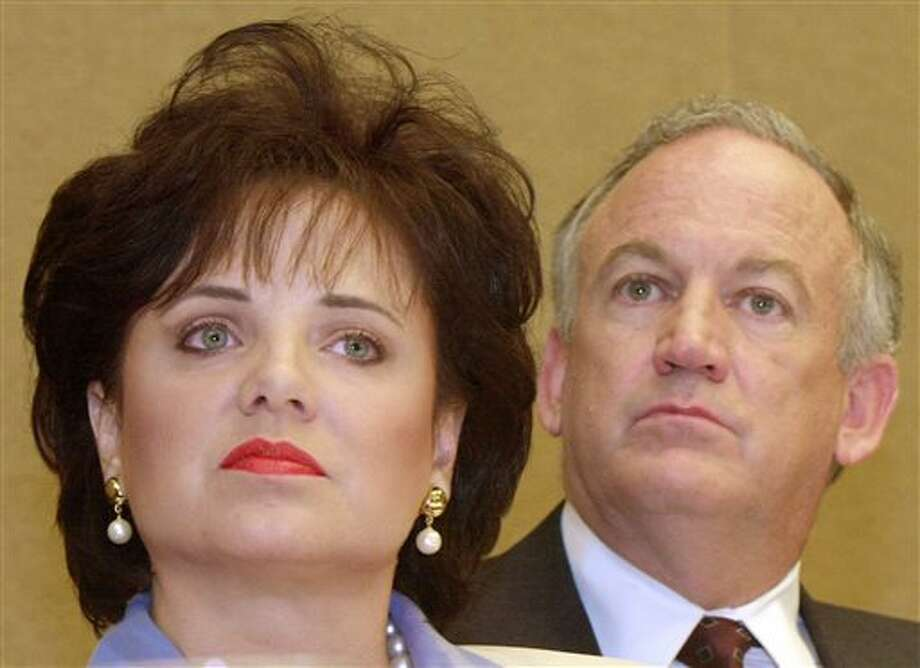 FILE - In this May 24, 2000 file photo, Patsy Ramsey and her husband, John, parents of JonBenet Ramsey, look on during a news conference in Atlanta regarding their lie-detector examinations for the murder of their daughter. A grand jury indictment issued in 1999 in the JonBenet Ramsey investigation is expected to be released Friday, Oct. 25, 2013, and should shed more light on why prosecutors decided against pursuing charges against the little girl's parents. (AP Photo/Ric Feld, File) Photo: Ric Feld / AP