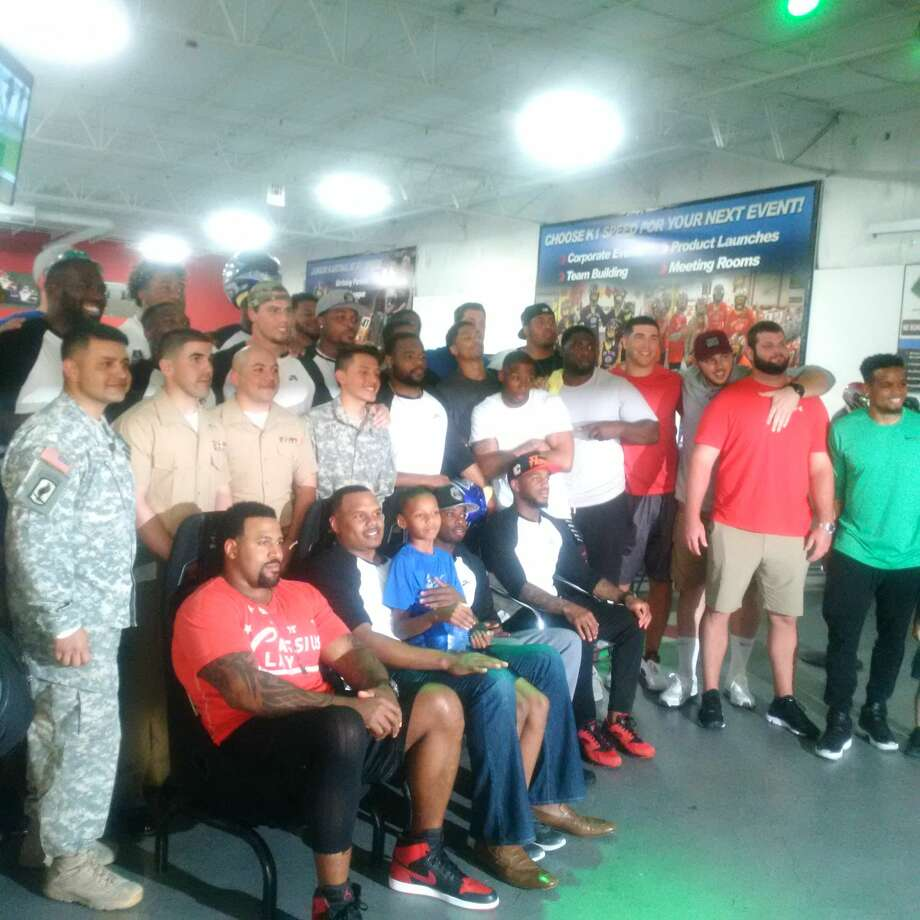 Texans middle linebacker Brian Cushing and teammates at The Cushing Cup Celebrity Go-Karting Challenge at K1 Speed. Photo: Aaron Wilson