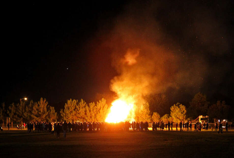 Trinity Homecoming Bonfire Thursday on the Trinity School athletic fields. James Durbin/Reporter-Telegram Photo: JAMES DURBIN