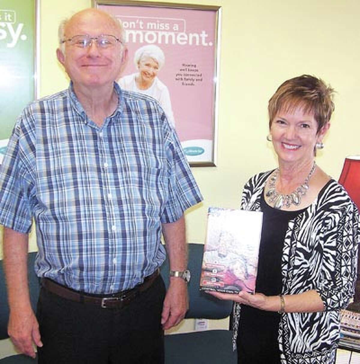 David Lloyd is excited to have won the drawing for the TV Ears TV listening system from Miracle-Ear at the recent Healthy U health fair. If you are having trouble hearing and would like to hear better, call 520-5566 in Midland to make an appointment to see Kay Scroggins.