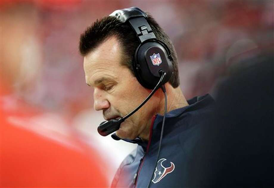 Houston Texans head coach Gary Kubiak watches from the sidelines during the first quarter of an NFL football game against the Indianapolis Colts, Sunday, Nov. 3, 2013, in Houston. (AP Photo/Patric Schneider) Photo: Patric Schneider / FR170473