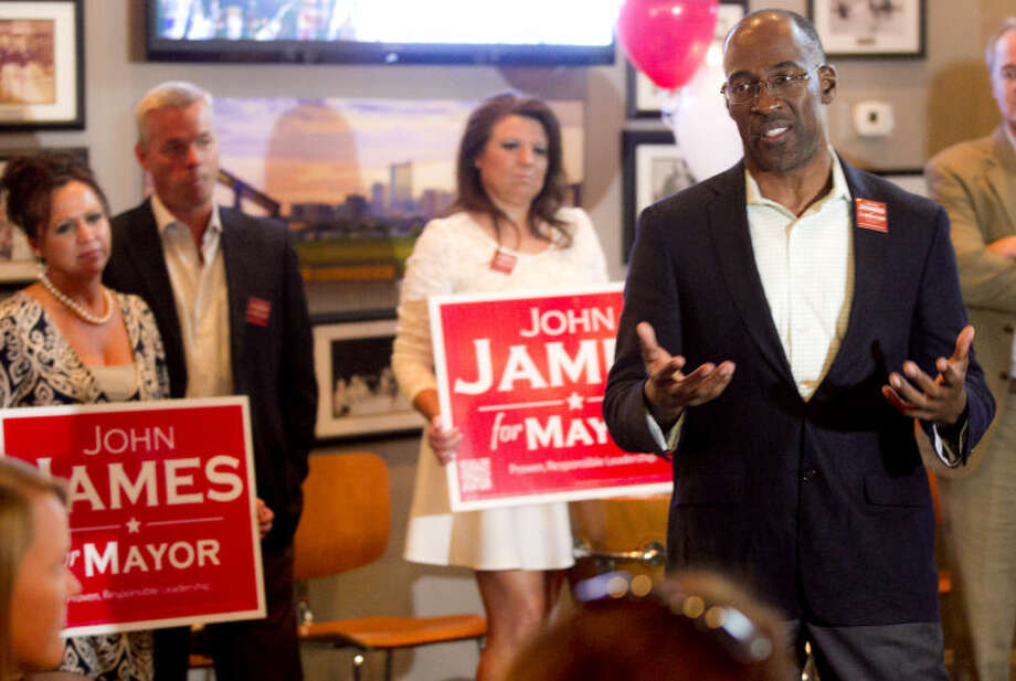 Mayoral candidate John James speaks during his mayoral campaign party Tuesday at Basin Burger House. James Durbin/Reporter-Telegram Photo: JAMES DURBIN