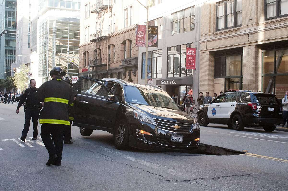 A family and an Uber driver escaped injury when the SUV they were riding in started sinking and a hole was created at the intersection of New Montgomery and Mission streets. The father, Ashok Maranon of Los Angeles, Calif. stated that they were waiting at the red light when it felt like the tire blew then the vehicle started sinking. The accident occurred at approximately 5:50 p.m. on May 10, 2016