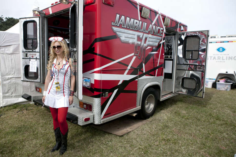 The Jambulance, a rentable party vehicle, on display at the first day of the Fun Fun Fun music festival in Austin on Friday. James Durbin/Reporter-Telegram Photo: JAMES DURBIN