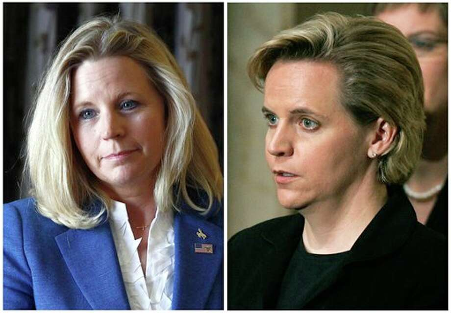 "FILE - In this July 17, 2013, file photo, Liz Cheney, left, speaks during a campaign appearance in Casper, Wyo., and her sister Mary Cheney, right, is seen in a Dec. 30, 2006, photo attending the funeral for former President Gerald Ford in Washington. Liz Cheney is running in a Republican primary for a U.S. Senate seat from Wyoming. She told ""Fox News Sunday"" on Nov. 17, 2013, she disagrees with her sister Mary Cheney, who is married to Heather Poe, over the topic of same-sex marriage. Mary Cheney responded on Facebook: ""You're just wrong."" (AP Photo/File) Photo: STF / AP"