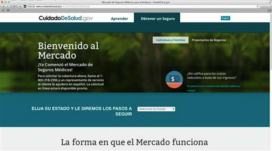 This screenshot made Nov. 26, 2013, shows the U.S. Department of Health and Human Services' web page for the Spanish language version HealthCare.gov. The Spanish version of HealthCare.gov now provides basic information, but still doesn't allow users to apply for insurance coverage online. U.S. Health and Human Services spokeswoman Joanne Peters told The Associated Press the administration plans a quiet launch of the Spanish enrollment tools in early December without much advertising. That leaves Spanish speakers getting help by phone from bilingual call center operators or in person from bilingual enrollment counselors while they wait for an online option. (AP Photo/U.S. Department of Health and Human Services) Photo: HOPD / HHS