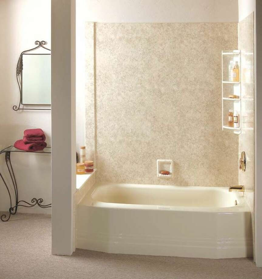 When you have your bath redone by Re-Bath there is no grout and no mold to worry about—just a wonderful décor designed to last for years and years! Call them at 1-800-bathtub.