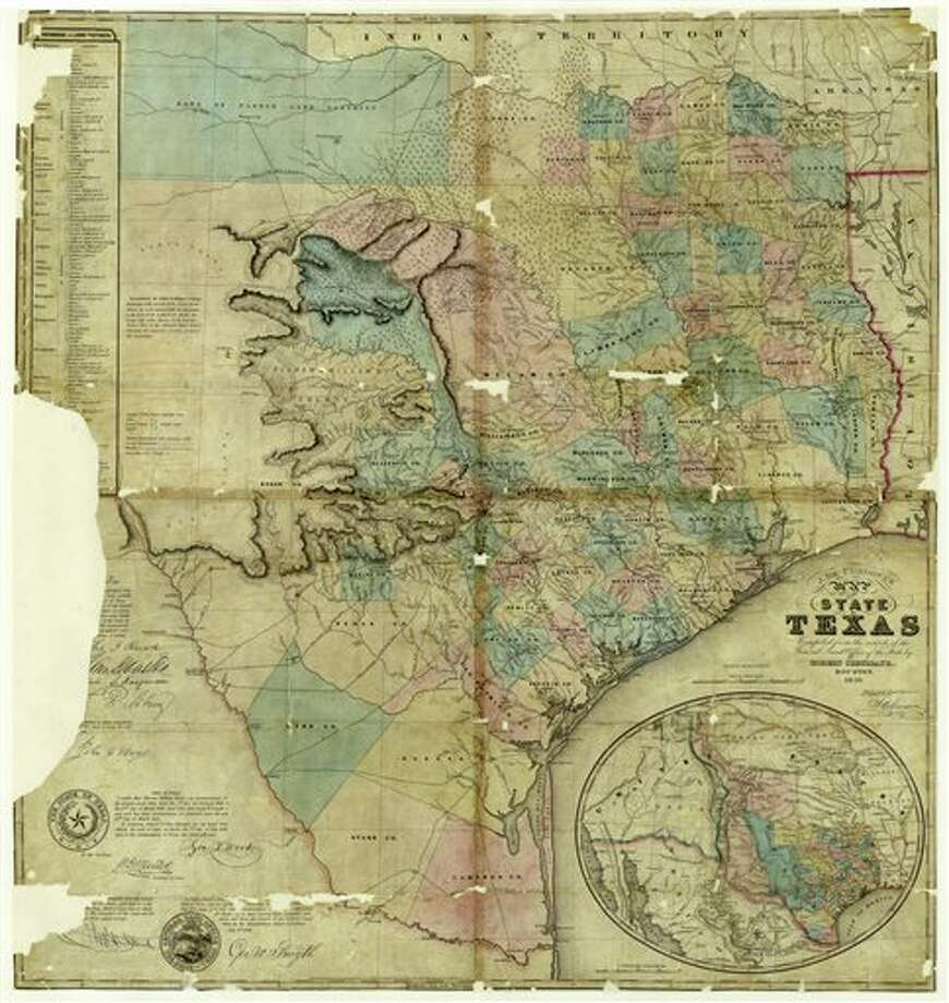 This 1849 map of Texas by Jacob De Cordova was provided by the Texas General Land Office. The Texas General Land Office has been selling replicas of antique maps since 2004, with proceeds helping to preserve some of its 35 million original documents. (AP Photo/Texas General Land Office) Photo: HOPD / Texas General Land Office