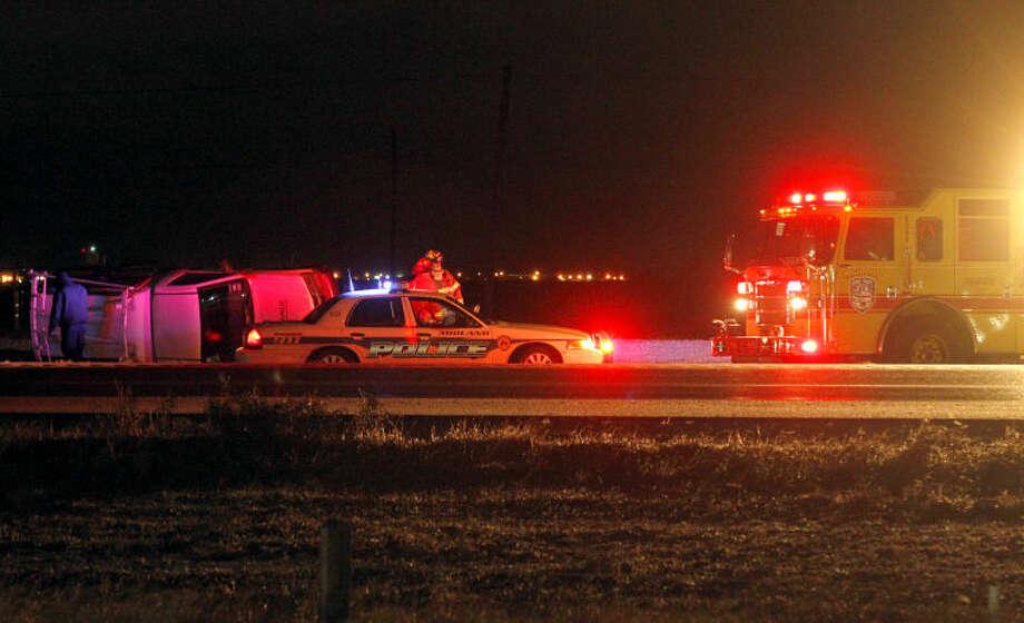 Vehicle accident on Hwy 191 on Thursday. James Durbin/Reporter-Telegram Photo: JAMES DURBIN